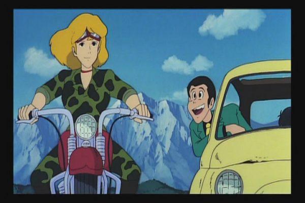 Lupin III Castle of Cagliostro Fujiko rides bike